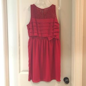 LIKE NEW! LOFT red lace dress with bow